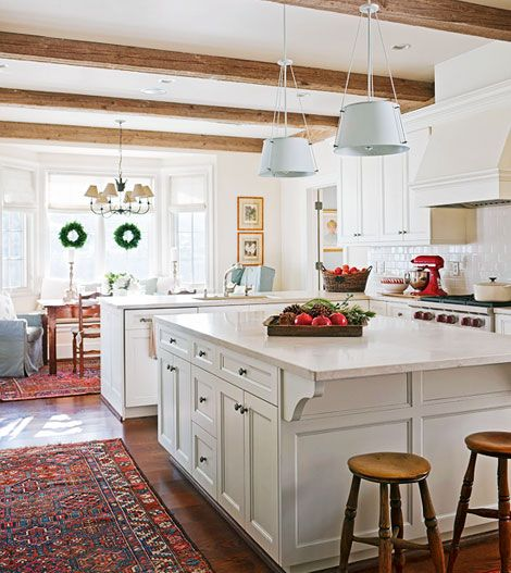 """Beautiful kitchen. Ok so I could probably """"pin"""" every room in these people's """"traditional easy coast"""" house in Utah. It's actually a great article too- from this month's Traditional Home."""