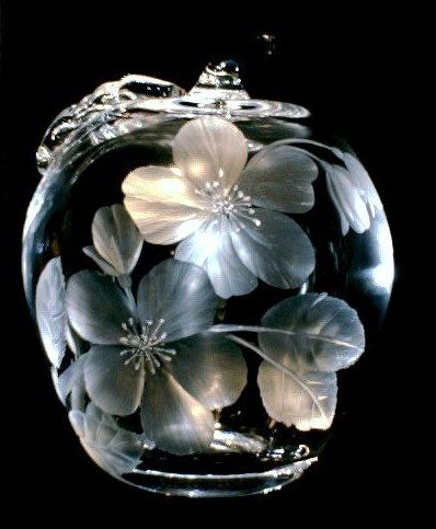 Apple with Apple Blossoms  * hand engraved glass paperweight by Catherine Miller of Catherine Miller Designs. Technique-Stone wheel