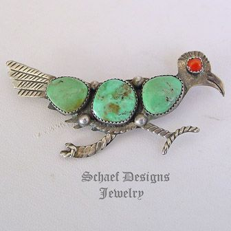 Vintage turquoise, spiny oyster & sterling silver pin | New Mexico