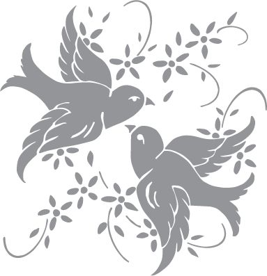 glass etching templates for free - glass etching stencil of a pair of birds with flowers in