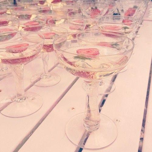 Hollow stemmed champagne glasses
