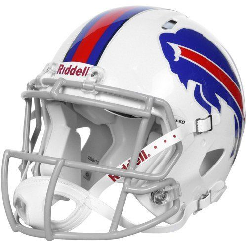 NFL Buffalo Bills Speed Authentic Football Helmet by Riddell. $229.42. Large shell, aggressive facemask, authentic internal padding, and 4-point chinstrap.. Available in official team colors and decals.. Great for autographs.. With its new distinctive shell design, the Speed helmet is being adopted by premier athletes at a furious pace.. Collectible, not to be worn for play.. The Speed Authentic Helmet is the ultimate Buffalo Bills fan collectible helmet.  With a n...