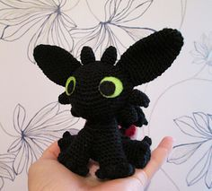 """A free pattern for a crocheted Toothless amigurumi. Toothless is a Night Fury dragon from Dreamworks' movie """"How To Train Your Dragon.""""-This is the one I like!"""