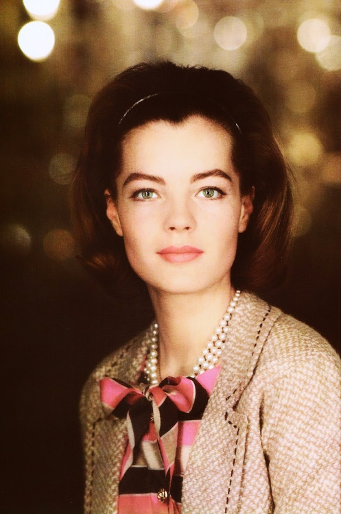 Romy Schneider in Chanel. Miss Schneider was one of very few clients Chanel took time for personally.