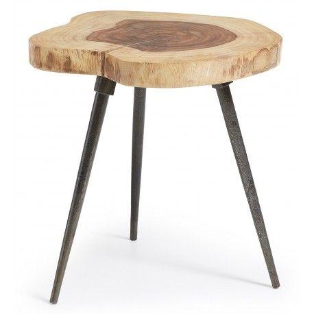 MESA AUXILIAR CRAFT DE MADERA MACIZA DE SHEESHAM  Mesa auxiliar CRAFT de madera maciza de sheesham natural y pies de acero. Las formas y medidas pueden variar en función de la madera.  Tiene un diámetro de 35 cm. y una altura de 45 cm. El grosor es de 4 cm. Su peso es de 7 kg. y soporta un peso de carga de 20 kg.  Combínalo con otros muebles de la colección balinés.  Este producto requiere un pequeño montaje por parte del cliente…