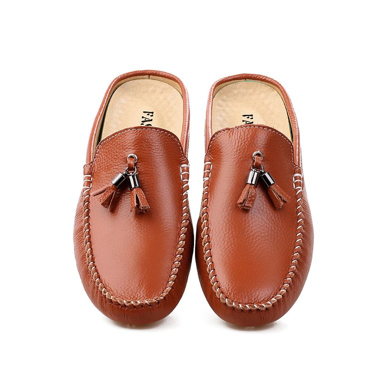 Men's summer  without heel Baotou leather men's shoes Peas semi trailer semi-trailer Leather slippers lazy summer sandals