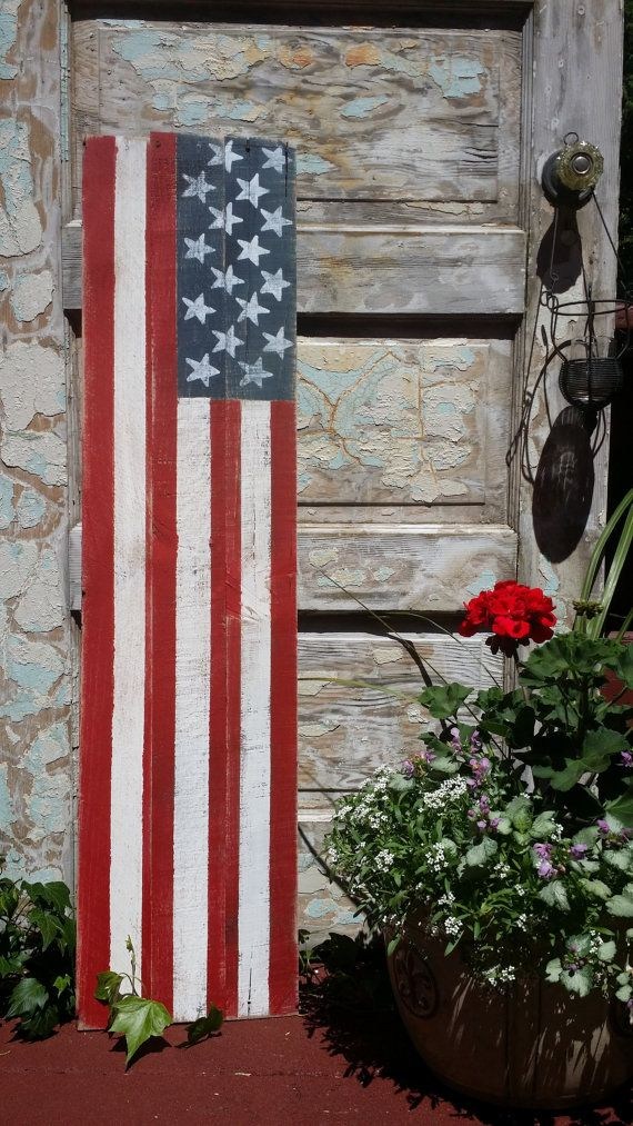 Wood American Flag & Welcome Sign Reversible Sign by CharaWorks