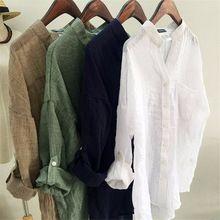 Venta caliente Verano de Las Mujeres Suelta Tops Moda Blusas Femininas 3/4 manga Camisa Blusa Plus Size Roupas Camisa de Lino Blanco Para mujeres(China (Mainland))