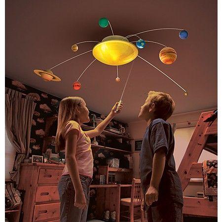 Lampadario sistema solare. Questo strepitoso lampadario è perfetto per la cameretta dei bambini: il sistema solare incorporato in esso può essere attivato da un pulsante, così che tuti i pianeti iniziano a ruotare intorno al sole (lampada).