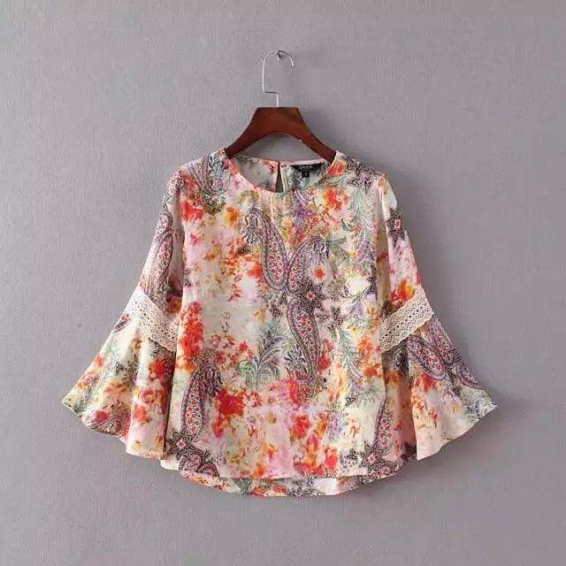 Barato Xr31 americanos moda 2016 mulheres Chiffon Floral imprimir blusa de renda Patchwork alargamento da luva O pescoço elegante Tops camisas Casual, Compro Qualidade Blusas diretamente de fornecedores da China: