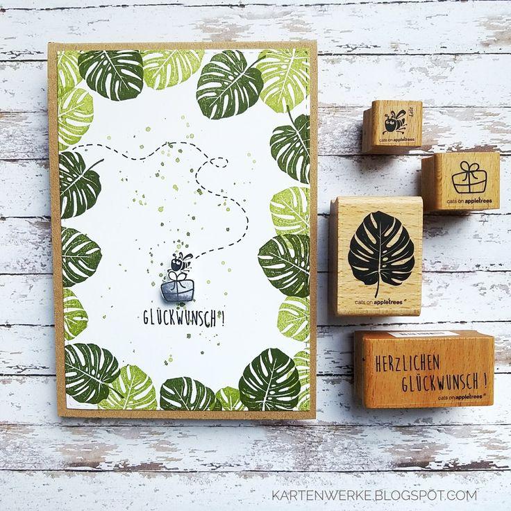 Kartenwerke: Geburtstagskarte mit den Marken von Katzen auf Apfelbäumen, Lele, Mon … – cards