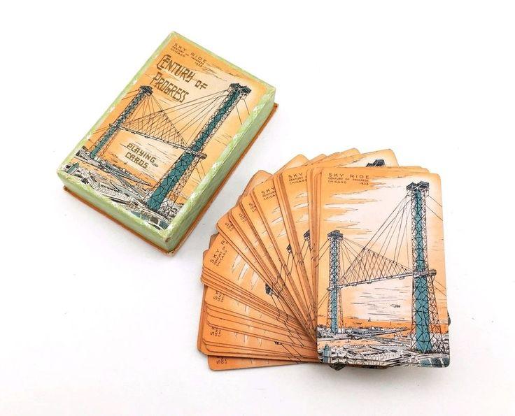 1933 Chicago World's Fair Century of Progress Vintage SKY RIDE Playing Cards  | eBay