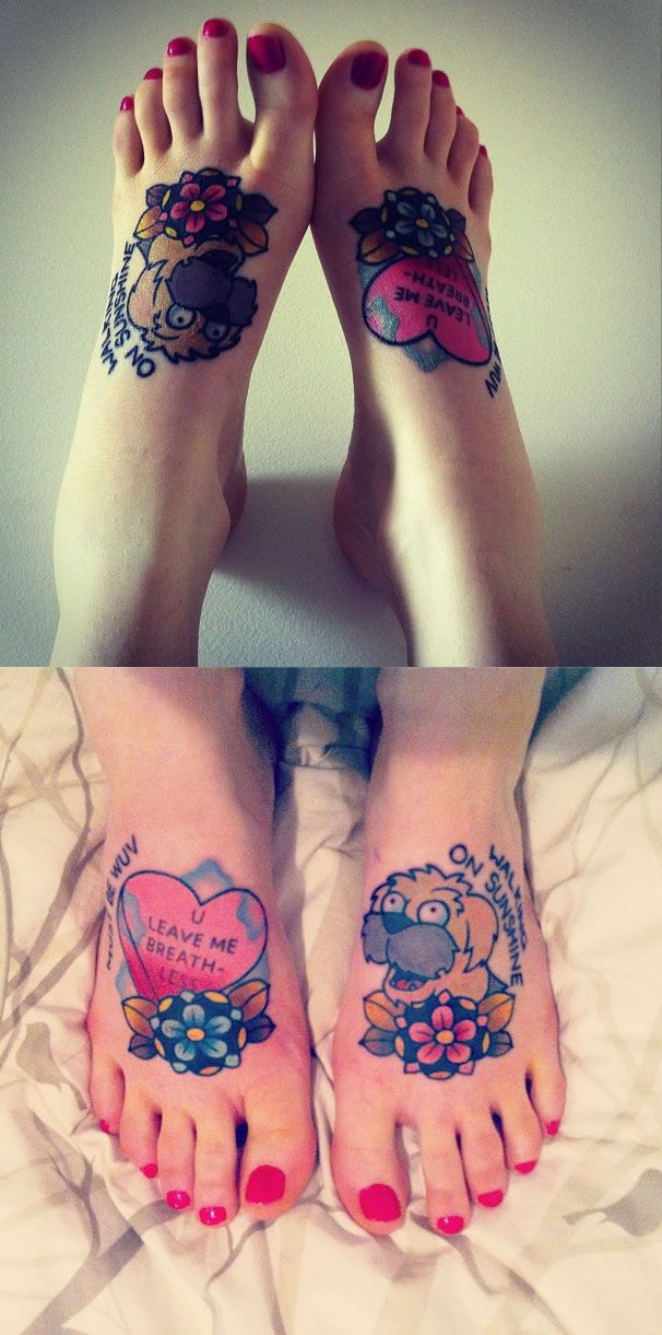 Awesome + cute tattooed #Futurama feet by kimbitis | #tattoo