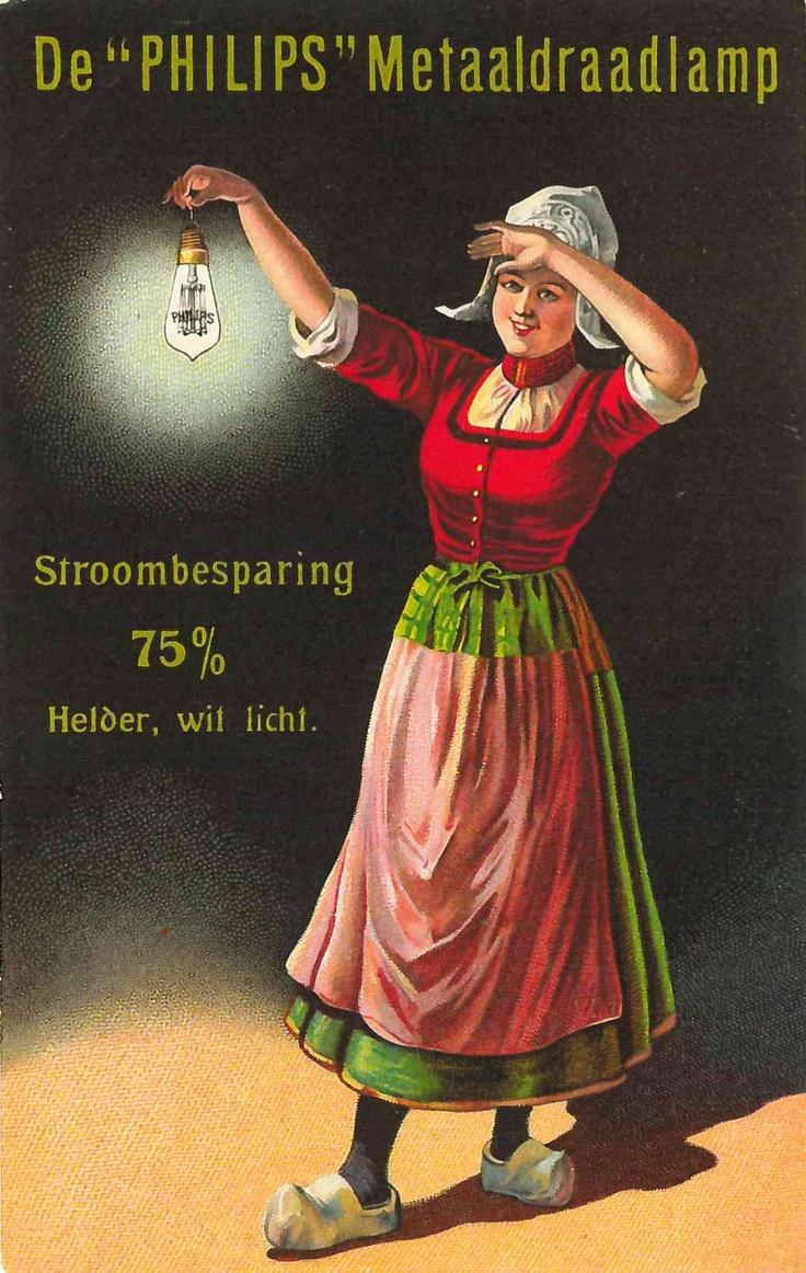 Postcard advertising Philips metal-filament lamp 1910