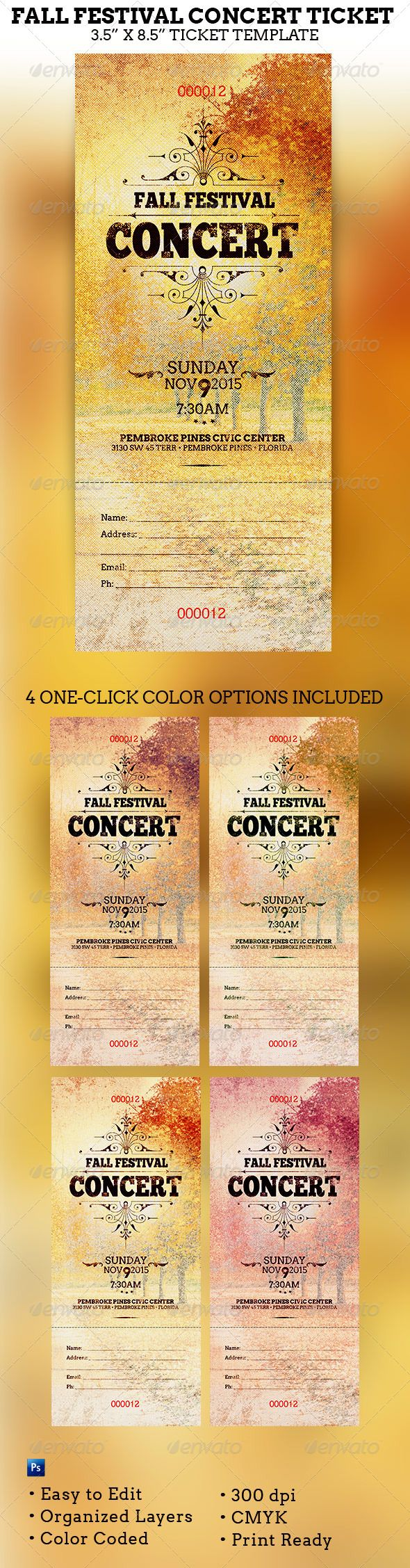 Fall Festival Concert Ticket Template - $4.00