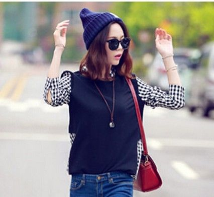 famous design ladies fake two-piece stitched long-sleeve plaid shirt 2016 girls casual outwear tops loose wild pullover blouse