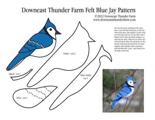 Free Simple Felt Ornament Patterns | Bold Blue Jay Felt Ornament | Downeast Thunder Farm