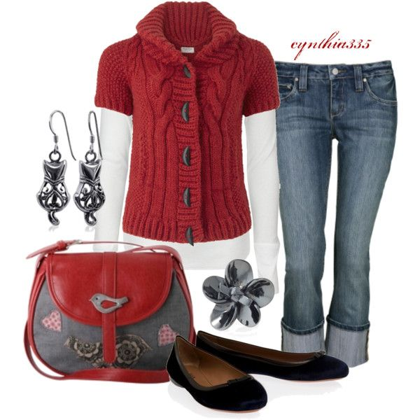 Cute Lil Sweater, created by cynthia335 on Polyvore: Red Sweaters, Cute Fall Outfits, Dreams Closet, Fall Wardrobes, Fashion Outfits, Red White Blue, Lil Sweaters, Outfits Ideas, Style Outfits