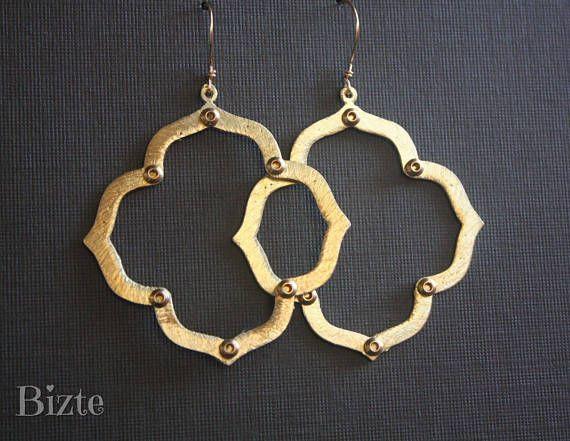 Raw Brass Earrings// Medallion Gold Studded Drop