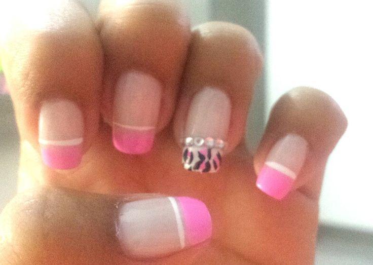 #Nails  #animal print#rose#brillo#