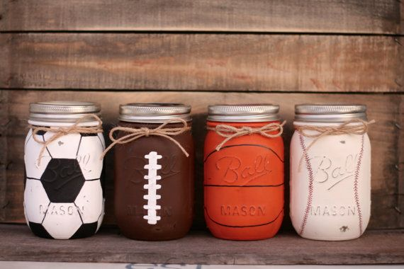 Choose one sport. Sports include soccer, football, basketball and baseball. The soccer, basketball and baseball jar patterns continue on back. Jars have been painted and lightly distressed then sprayed with a protective sealant which prevents further chipping. Contact me for theme party decor, soap dispenser or piggy bank!  Listing Includes: 1 (any sport) Pint Size Regular Mouth Jar Twine Band Lid