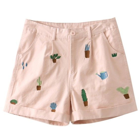 Shorts with Plants Embroidery
