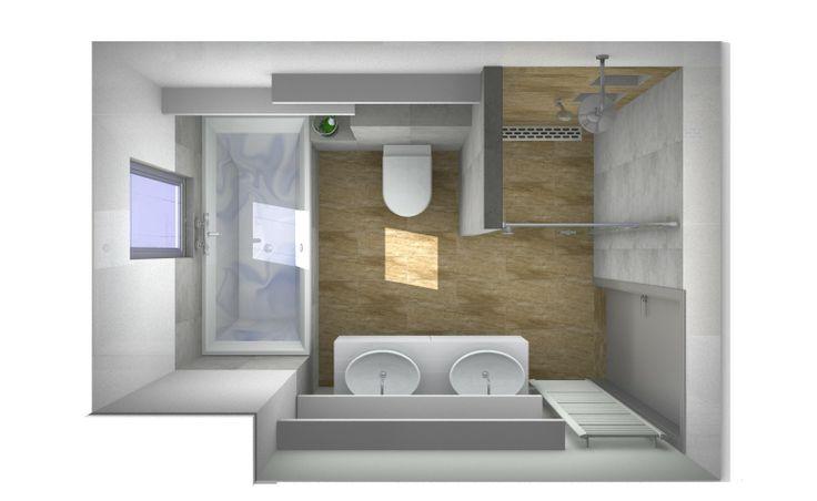 Ontwerp van badkamer met houtlook keramische tegels. http://vanwanrooijtiel.nl/nieuws/tips-trends-nieuwe-badkamertegels/
