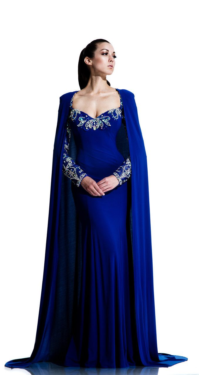 Jeweled Evening Gown with Cape Style 553 by Johnathan Kayne