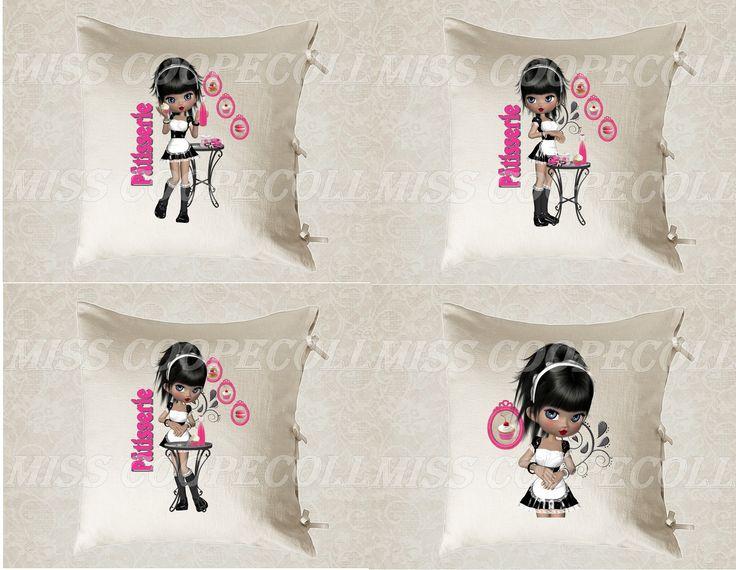 """4 images digitales pour transfert à imprimer """"Miss patisserie2"""" envoi par mail rose, fushia, gateaux, rayures : Loisirs créatifs, scrapbooking par miss-coopecoll"""