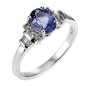 I love Tanzanite and have loved ♥ this ring for ages! But tanzanite is not a 'hardy' enough stone for my work/lifestyle. I could have it set with a sapphire instead but the setting would not be robust enough either.   Plus John is not keen on this style it turns out, has only taken him 3 years to tell me this! Ernest Jones - 18ct white gold certificated tanzanite and diamond ring £1,999.