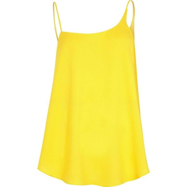 River Island Yellow asymmetric neck cami top (€26) ❤ liked on Polyvore featuring tops, cami / sleeveless tops, women, yellow, yellow sleeveless top, loose fit tank top, sleeveless tops, loose fitting tanks and yellow cami
