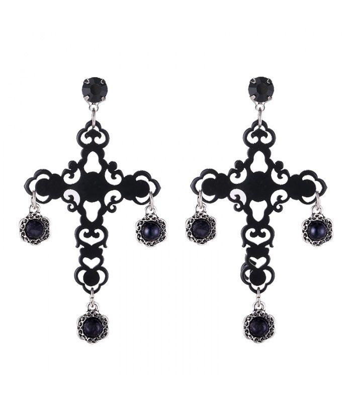 Zwarte oorhangers in de vorm van een kruis|kruis oorbellen koop je online | Yehwang fashion en sieraden