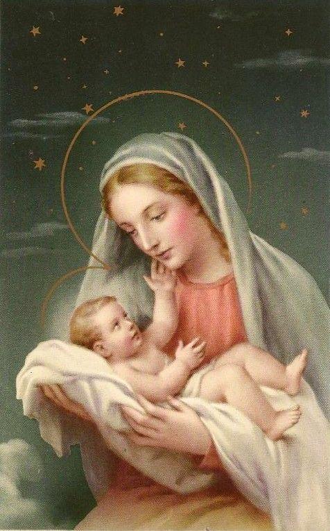 Old Christmas Post Card — Vintage Christmas Card 'Madonna and Child' (476x675)