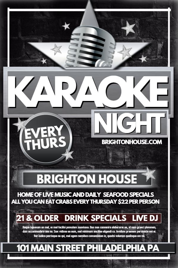 Karaoke Poster. Click on the image to customize on PosterMyWall.