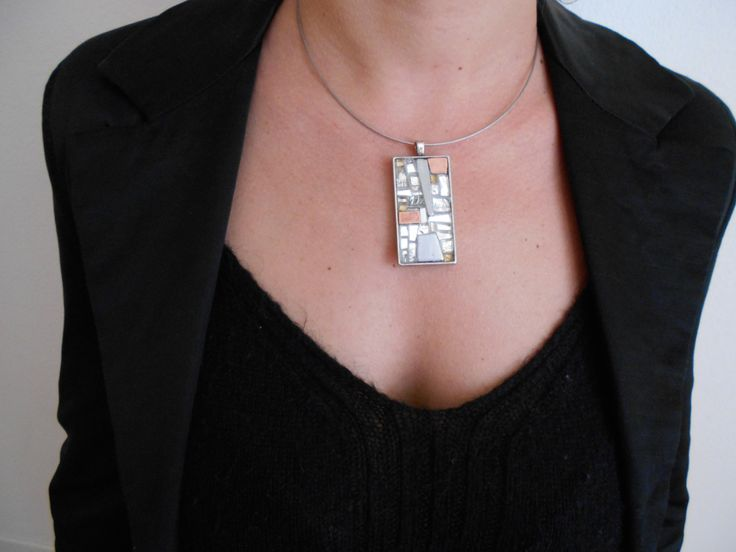 girocollo con pendente luminoso in mosaico alluminio rame vetro oro di Stylegifts su Etsy