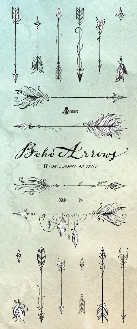 Flechas de boho. 17 gráfico dibujado a mano. Tribales