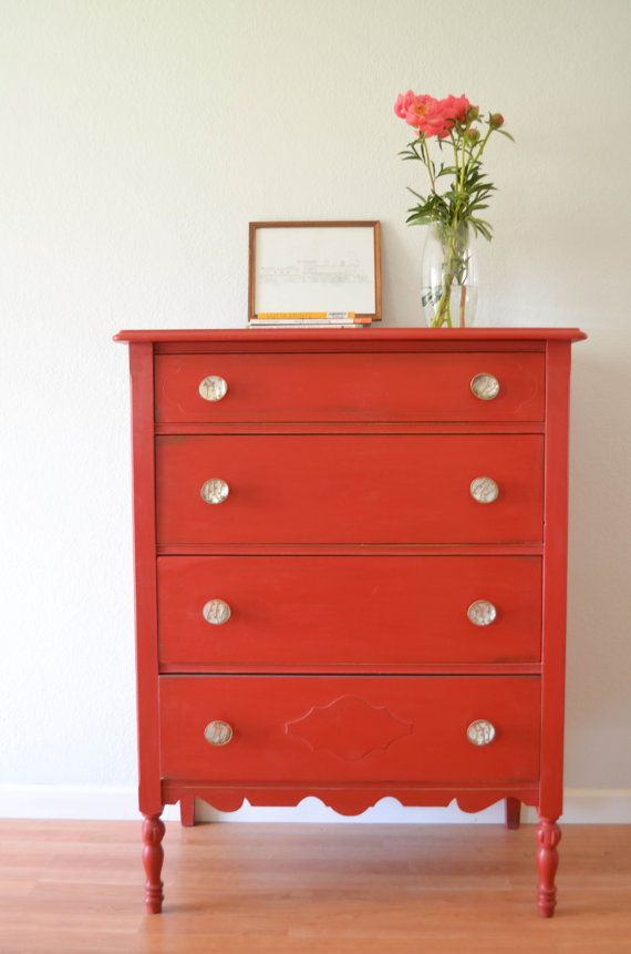 Vintage tallboy chest of drawers dresser hand painted Annie Sloan Chalk Paint Distressed