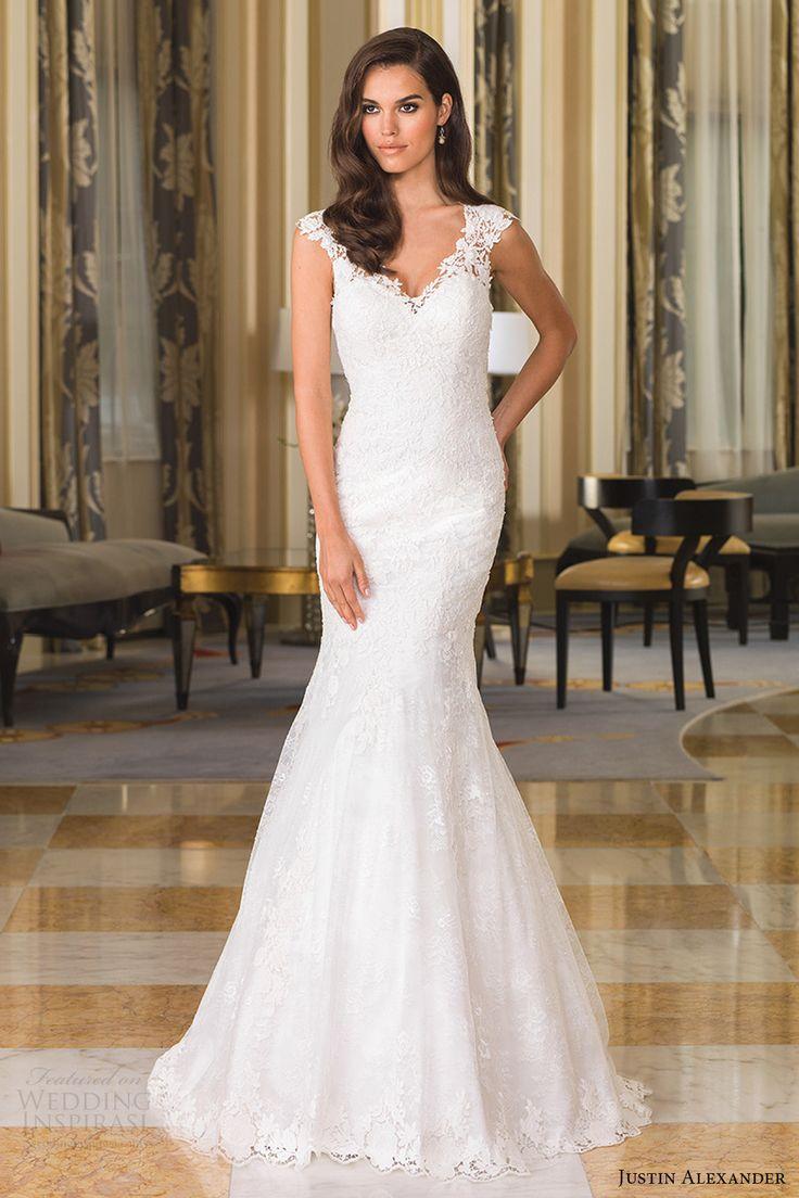 Justin Alexander Bridal Fall 2016 Cap Sleeves Vneck Fit Flare Chantilly Lace Wedding Dress 8858