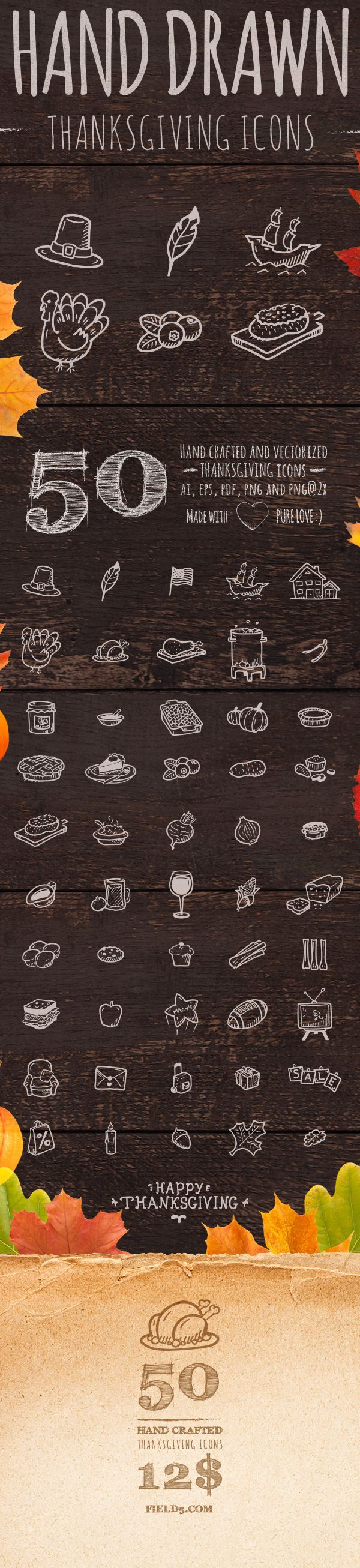 50 Hand Drawn Thanksgiving Icons on Behance