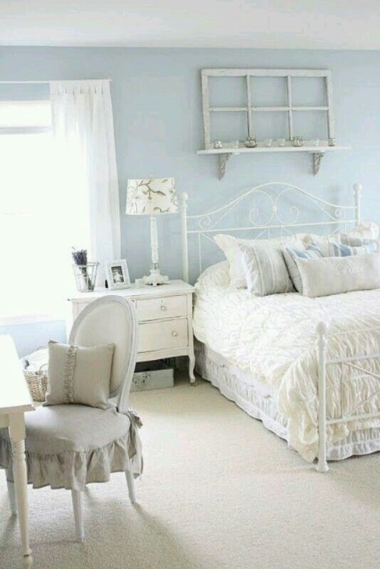 Beautiful blue shabby chic bedroom