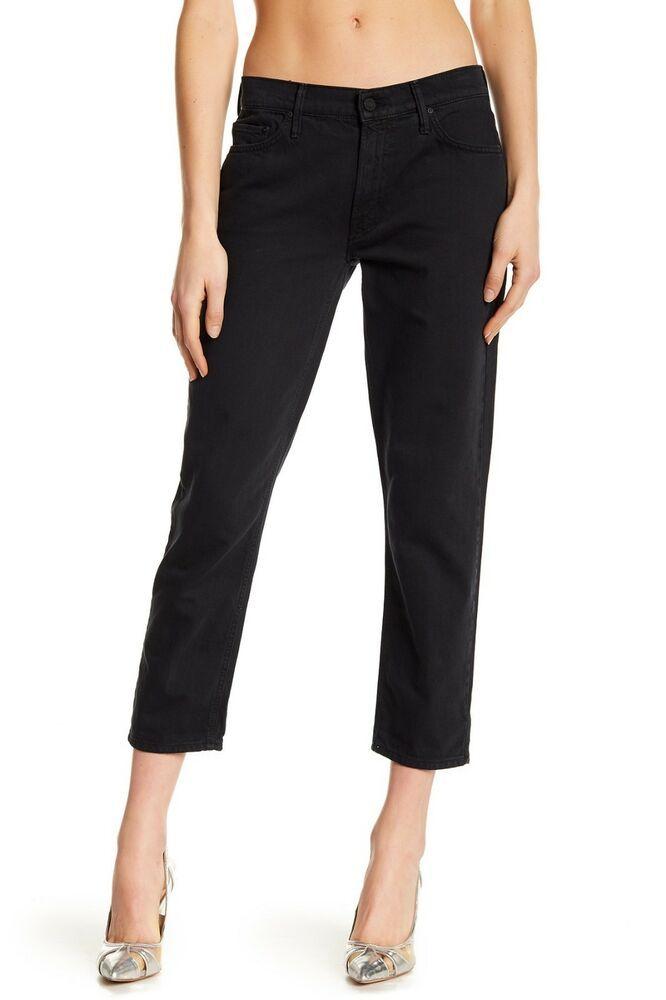 349f466e1a57bd MOTHER The Dropout Cropped Slim Ankle Crop Denim Jeans Pants Black 24 $208  #Mother