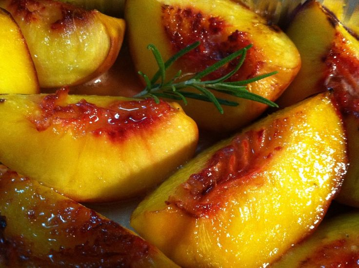 Roasted Fresh Peaches with Butter and a Sprig of Rosemary -Sounds so good