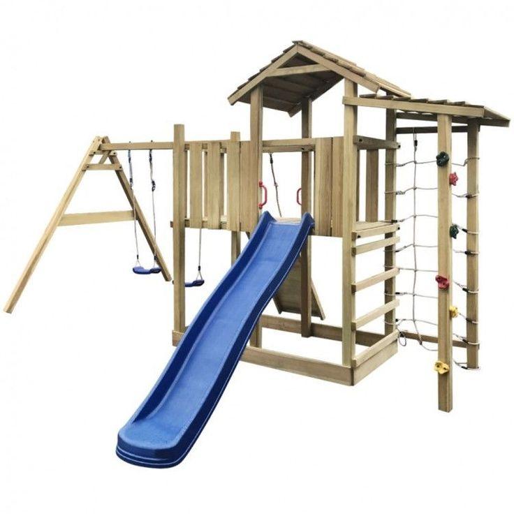 Kids Playhouse Set Ladder Slide Wooden Playground Children Blue Swing Rope Climb #KidsPlayhouseSet