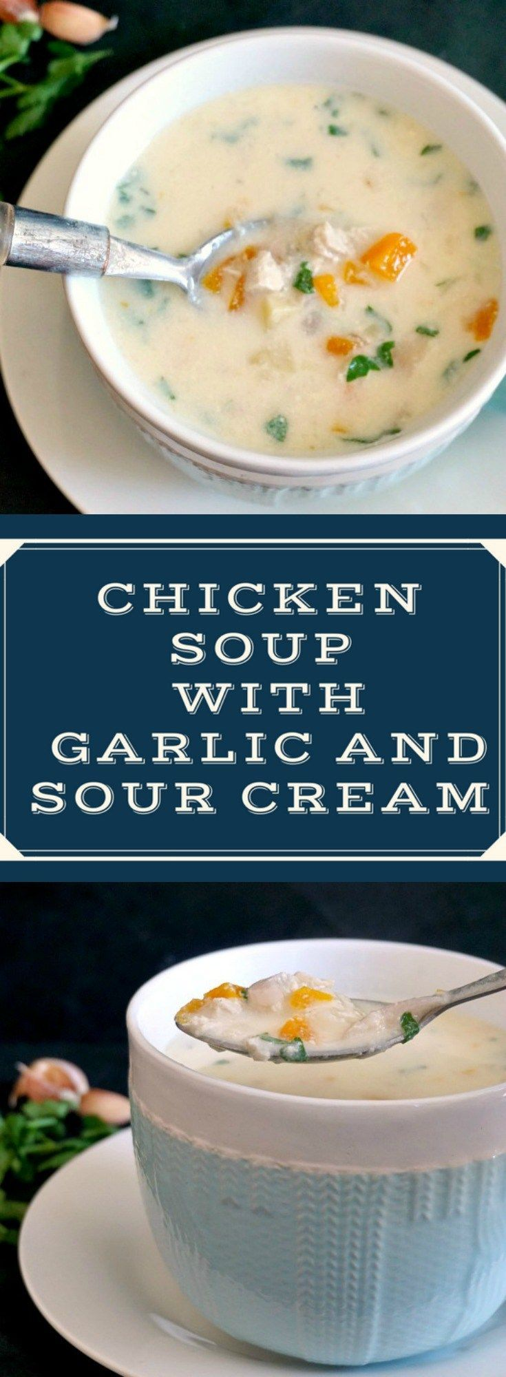 Chicken soup with garlic and sour cream or the Romanian Ciorba Radauteana makes a fantastic natural remedy against cold and flu. Soothing and delicious, an easy healthy soup that will become a family favourite.
