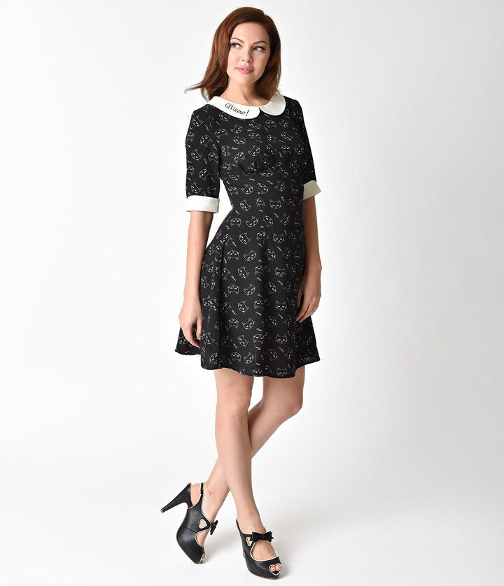 """This dress.  It has little cats on it and the Peter Pan collar says """"meow"""" in embroidered script.  I love the vintage look of it!  It's cute and funny but still totally classy looking.   #Affiliate #vintagestyle #thatsdarling #ootd"""