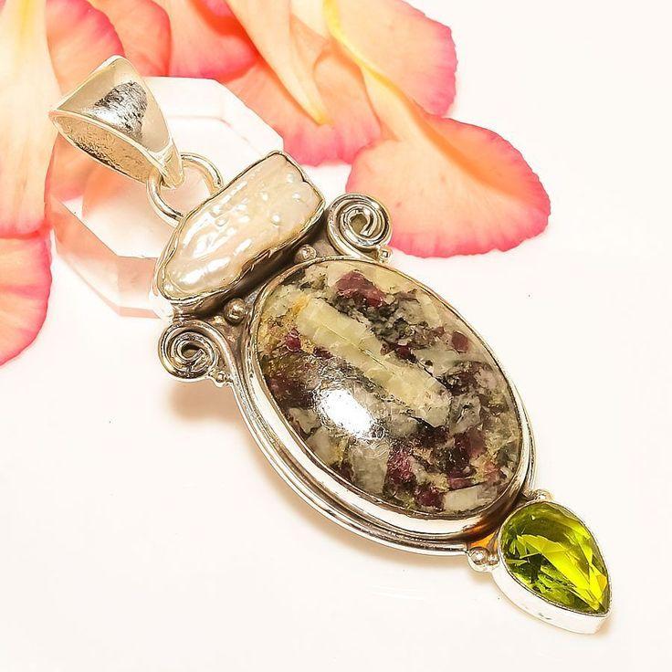 "Designer Eudialyte, Peridot, Biwa Pearl 925 Sterling Silver Jewelry Pendant 2.7"" #Handmade #VintageStylePendant"