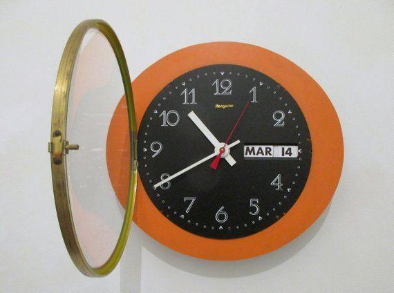 French 1960s Atomic Age Hangarter Wall Clock Bright Orange Formica Wall Clock Circular Shape Calendar Clock Great Working Condit Orange Clocks Wall Clock Clock