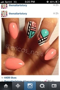 coolnailsart.com - Google Search. I have a skirt from rainbow that would help rock these! Same Aztec design and colors!