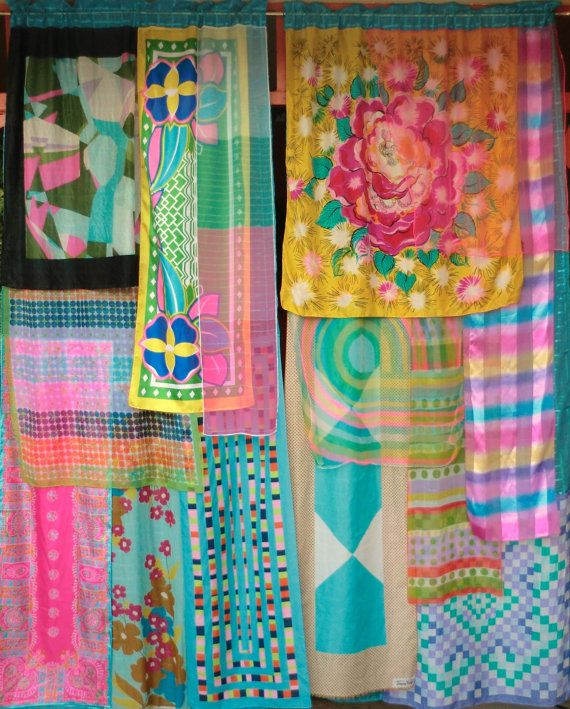 """RHIANNON  Handmade Gypsy Curtains by BabylonSisters on Etsy, $195.00 Each panel is unique and measures about 40 """" wide by 84"""" long. New purchased curtain panels with layers of vintage silk and chiffon scarves. DIY?"""
