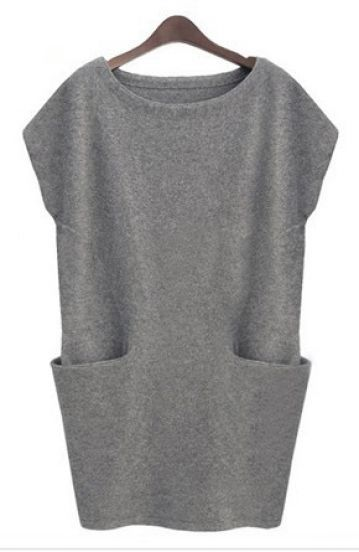 Grey Sleeveless Pockets Bodycon Sweater Dress -SheIn(Sheinside) Mobile Site